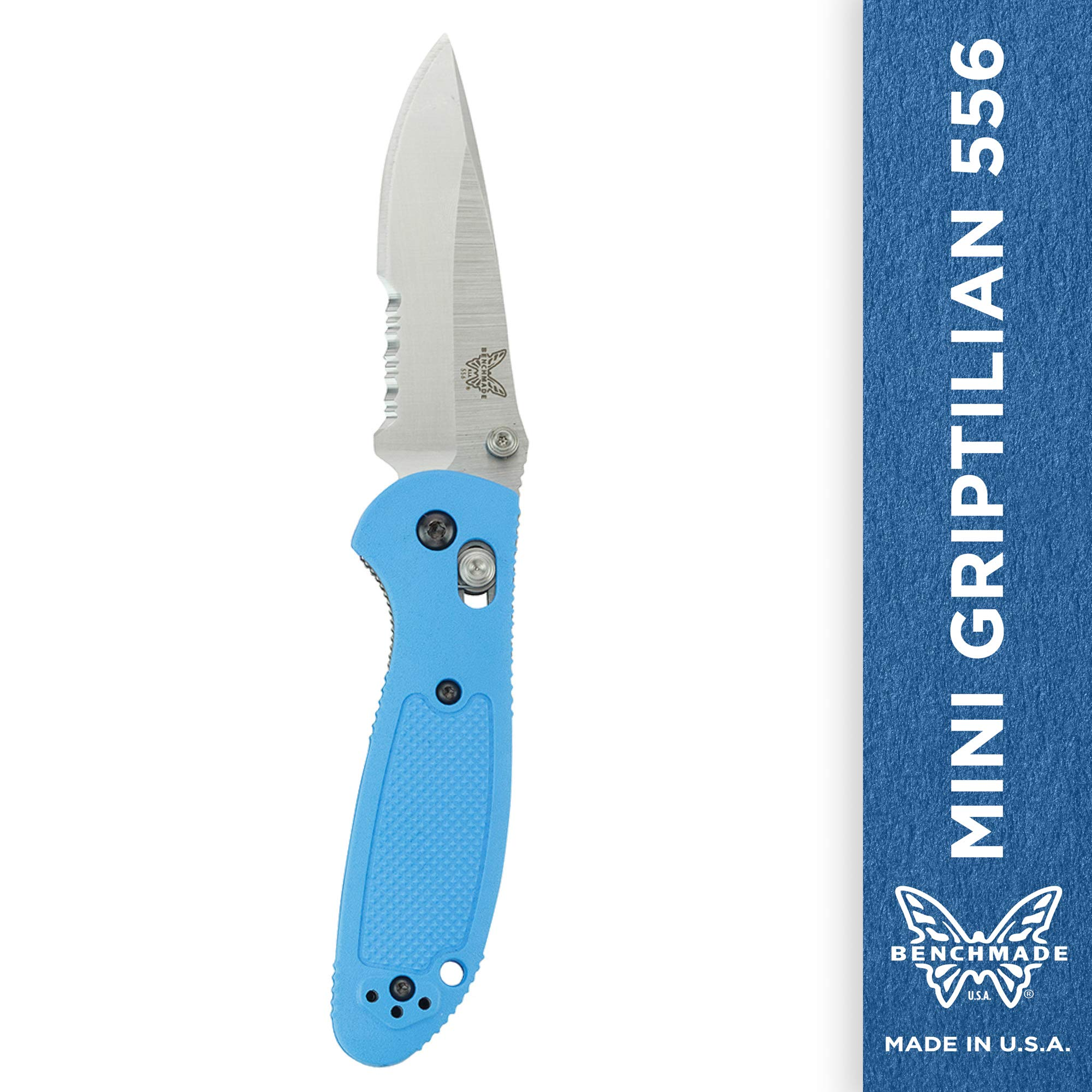 Benchmade - Mini Griptilian 556 EDC Manual Open Folding Knife Made in USA with CPM-S30V Steel, Drop-Point Blade, Serrated Edge, Satin Finish, Blue Handle