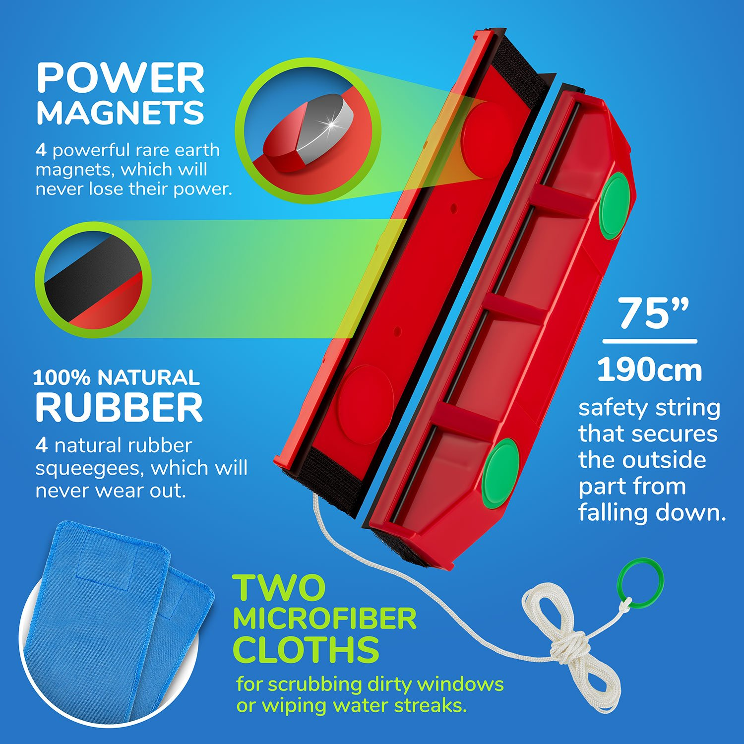 The Glider D-3, Magnetic Window Cleaner for Double Glazed Widows up to 1-1/8'' window thickness by Tyroler Bright Tools (Image #2)