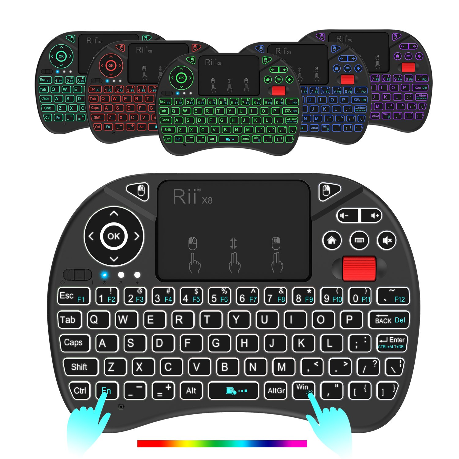 (Updated 2018,8-Color RGB Backlit) Rii X8 2.4GHz Mini Wireless Keyboard with Touchpad Mouse Combo, RGB Backlit, Rechargeable Li-ion Battery-Black by Rii (Image #2)