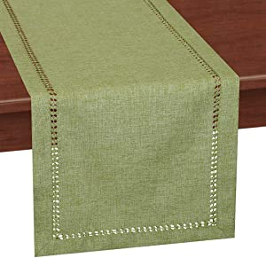 Grelucgo Handcrafted Solid Color Dining Table Runner, Dresser Scarf, Double-Hemstitched (Sage Green, 14 x 48)