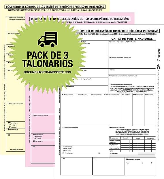 Anónimos Pack 10 Talonarios CMR para el Transporte en papel Autocipiativo