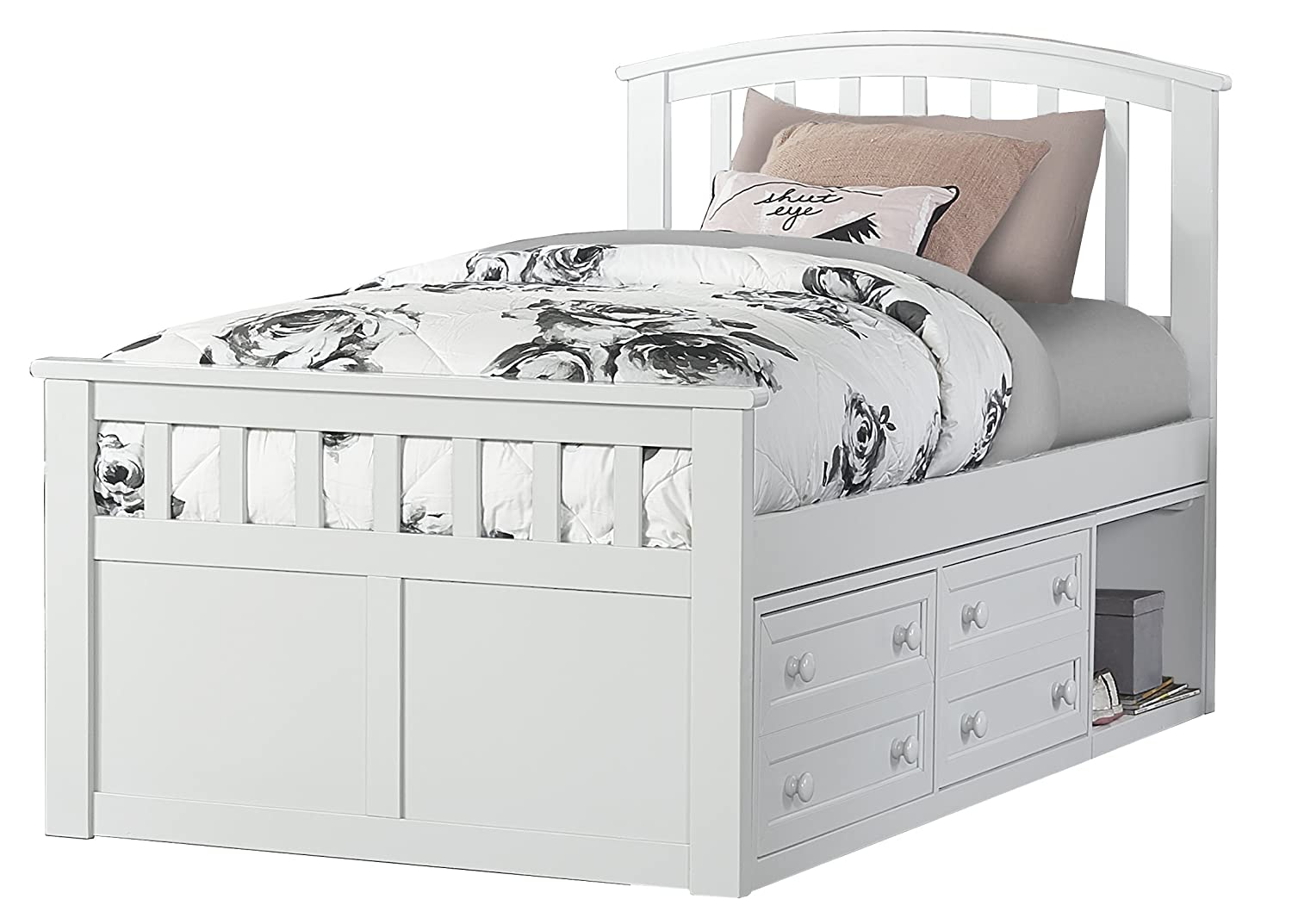 Hillsdale Furniture Hillsdale Charlie Captains Bed with One Storage Unit, Twin, White: Amazon.in: Home & Kitchen