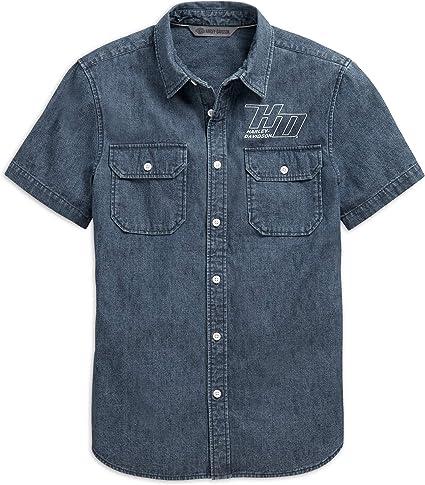 HARLEY-DAVIDSON Camisa Oficial Chambray Ajustada para Hombre, Azul Oscuro: Amazon.es: Ropa y accesorios