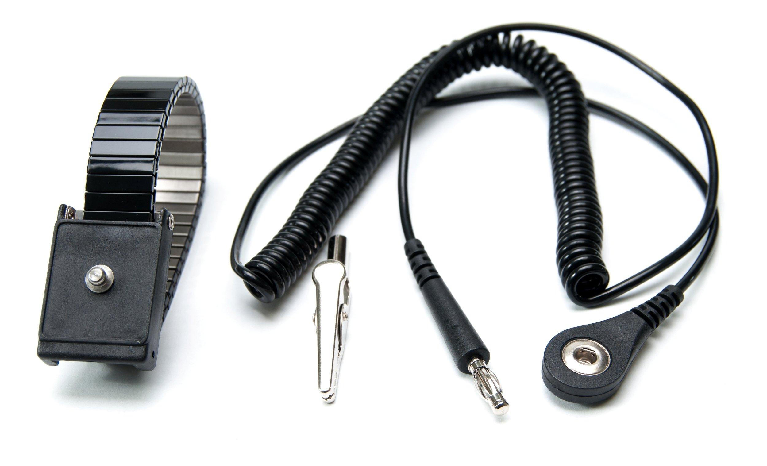 Bertech Metal Adjustable Swivel Wrist Strap with 12' Cord, 1 Megohm Resistor, 4mm Snap, Black