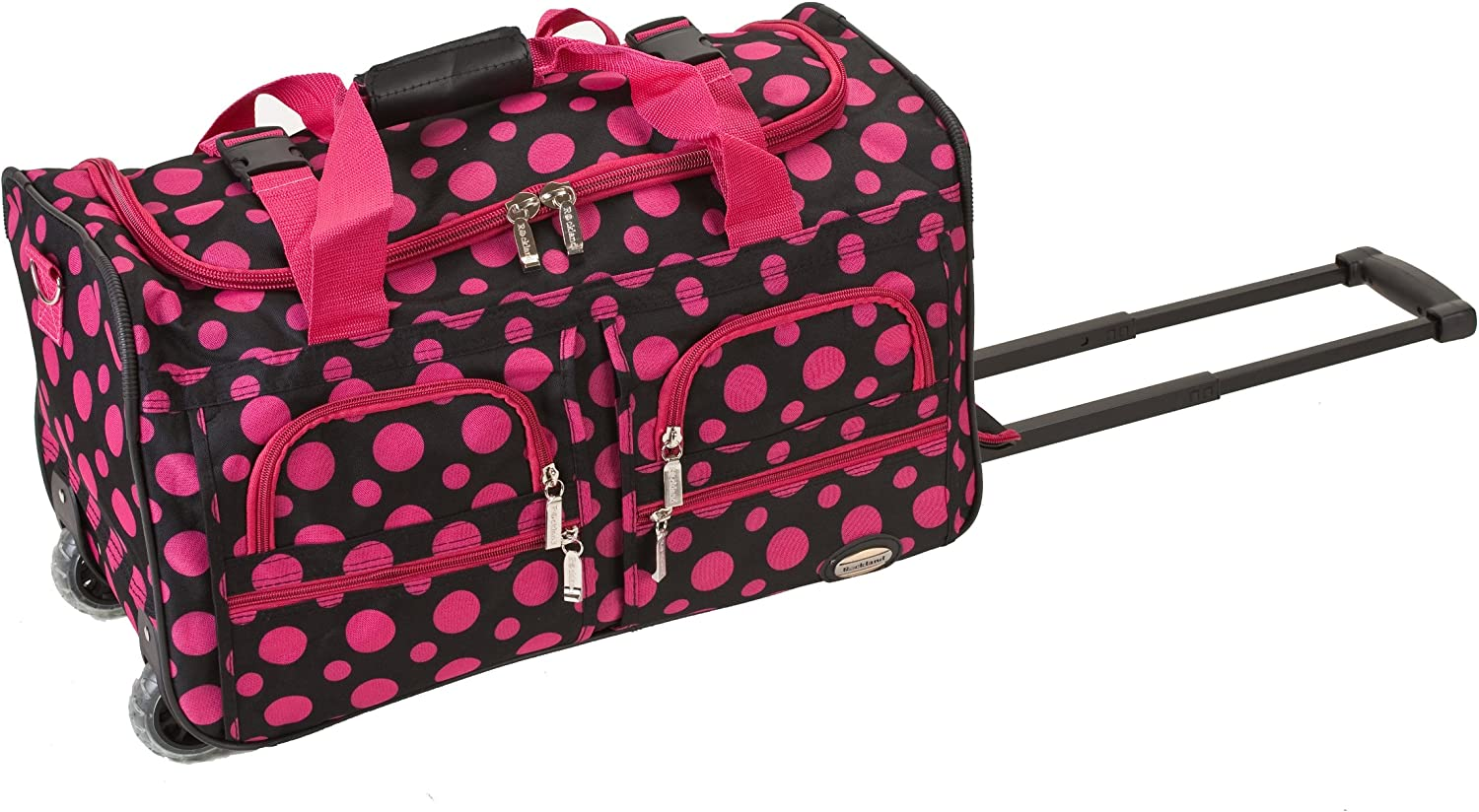 Rockland Rolling Duffel Bag, Black/Pink Dot, 22-Inch