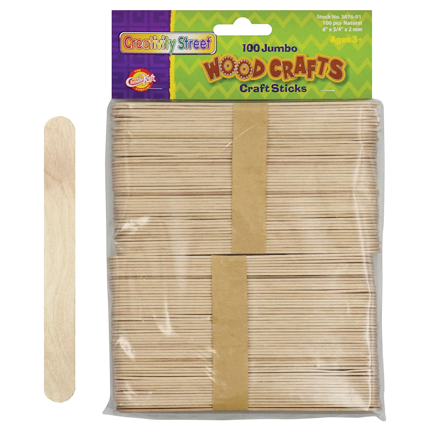 Pacon Jumbo Natural Craft Sticks 100 pieces per pack