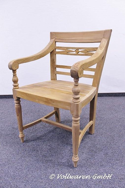 6er SET TEAK ARMLEHNSTUHL CORONA Teakholz Antik Massiv Stuhl Sessel Landhaus  Stil