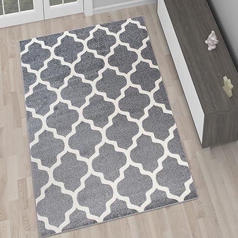 Amazon.De: Designer Teppich Wohnzimmer Teppich Grau Modern
