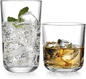 Drinking Glassware Set by Home Essentials and Beyond – Set of 8 Glasses – Includes 4 Highball Glasses 17 oz.   4 Rocks Glasses 13 oz. – Heavy Flat Base – Ideal Water, Juice, Beer, Wine, Cocktails