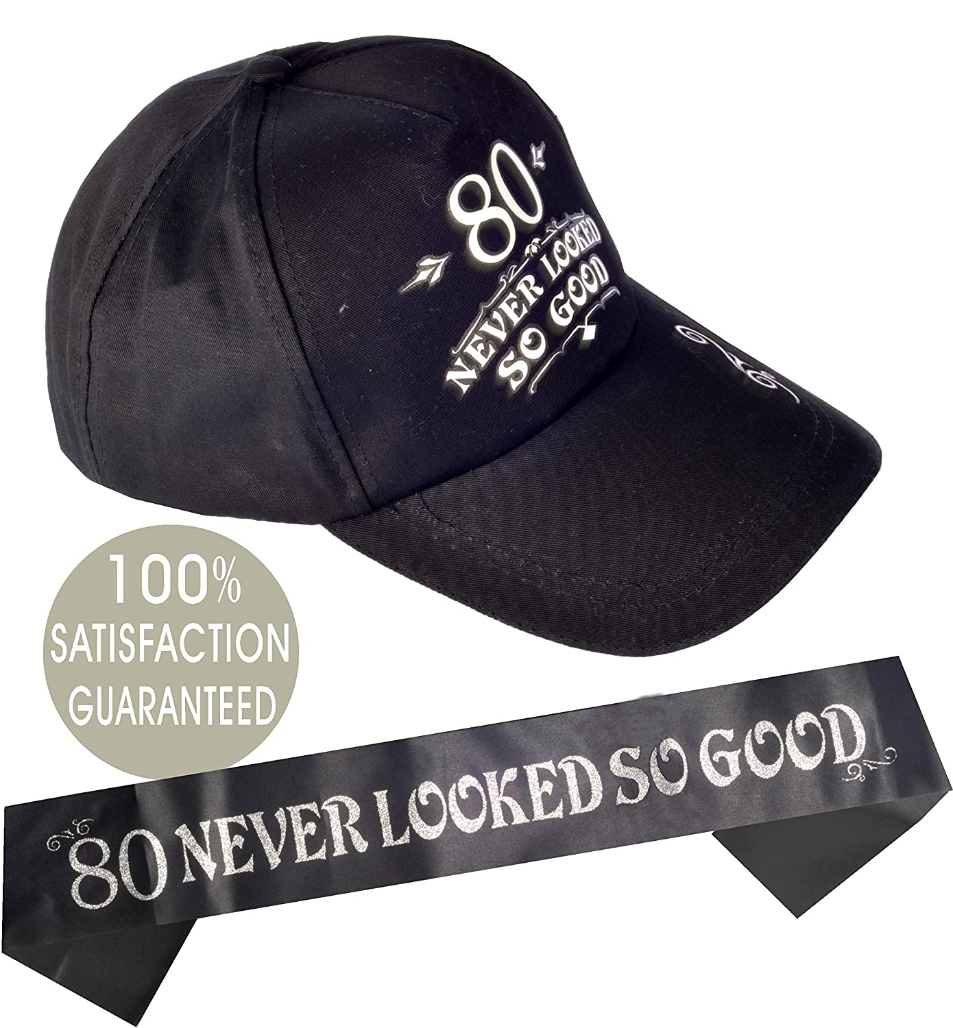 "/""80 Never Looked So Good/"" Hat Funny Birthday Ideas and Decorations Happy 80th Birthday Party Supplies"