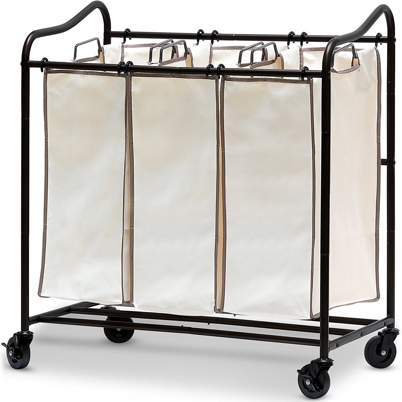 Simple Houseware Heavy-Duty 3-Bag Laundry Sorter Rolling Cart, Bronze