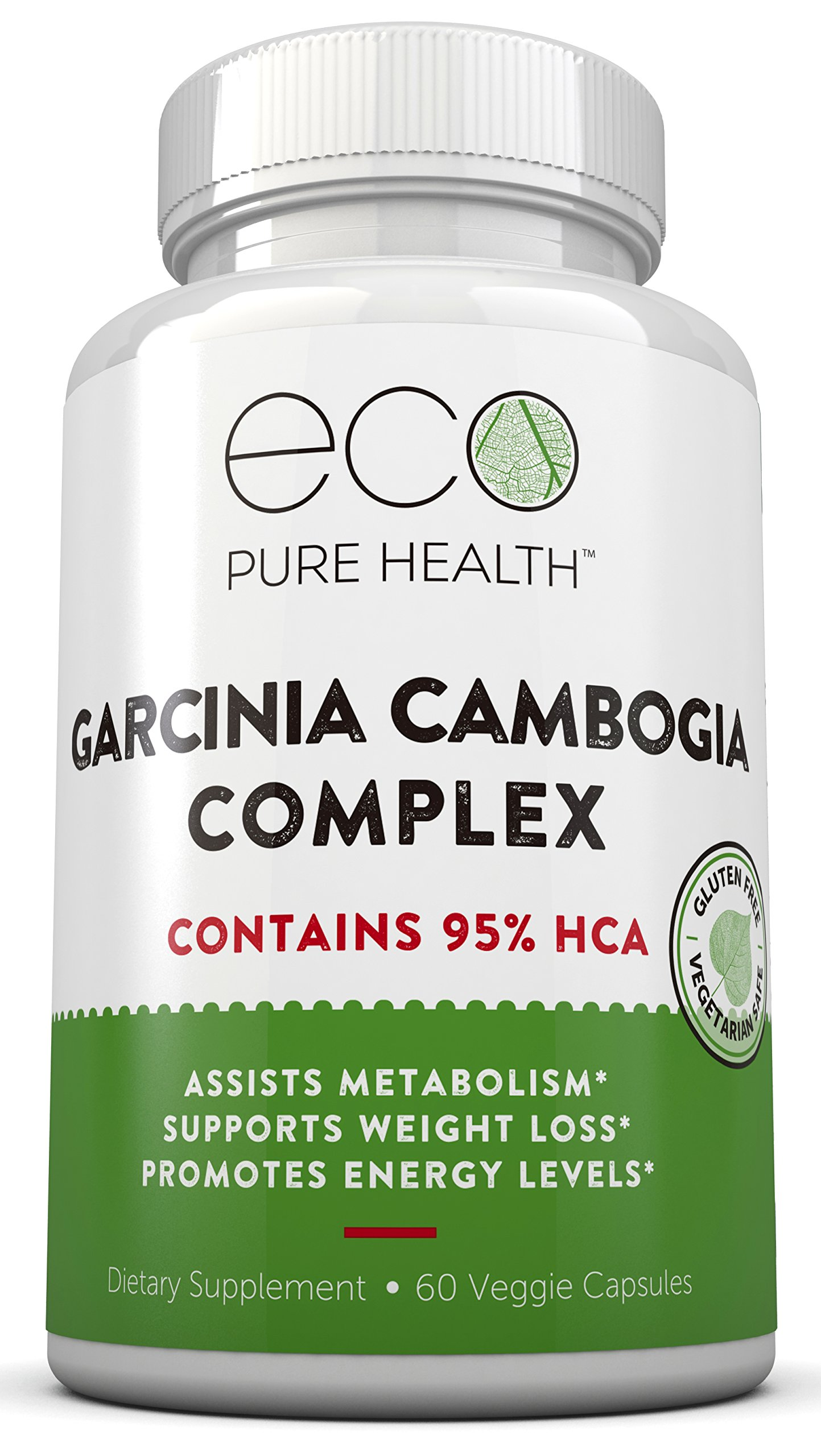 Garcinia Cambogia with 95% HCA - Pure Garcinia Cambogia Extract with HCA, Triple Strength, All Natural Appetite Suppressant, Weight Loss Supplement By Eco Pure Health