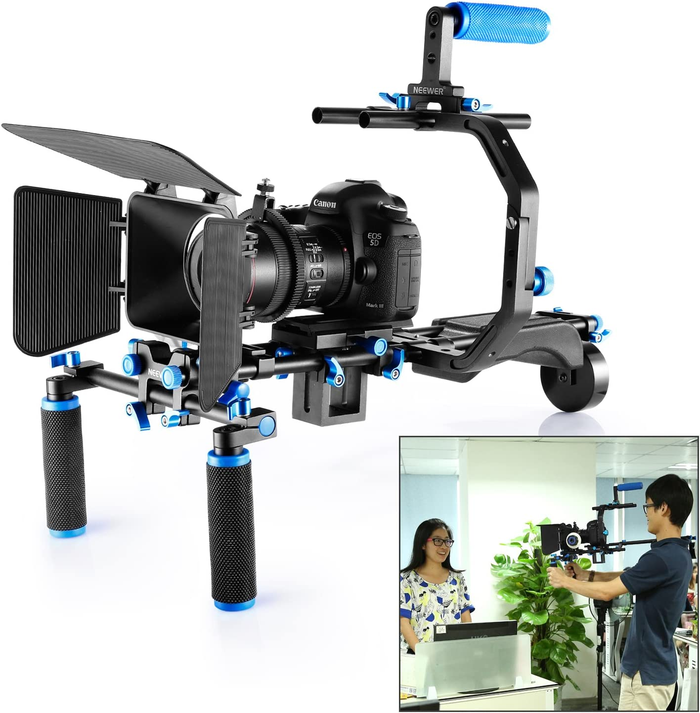 Neewer Film Movie Video Making System Kit for Canon Nikon Sony and Other DSLR Cameras Video Camcorders C-shaped Bracket,Handle Grip,15mm Rod,Matte Box,Follow Focus,Shoulder Rig Blue+Black includes