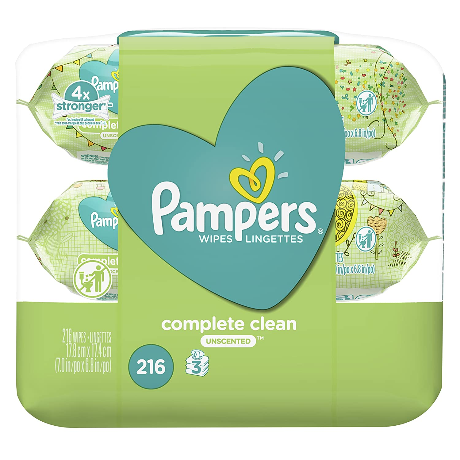 Pampers Baby Wipes Complete Clean UNSCENTED 3X Pop-Top, 216 Count Procter and Gamble