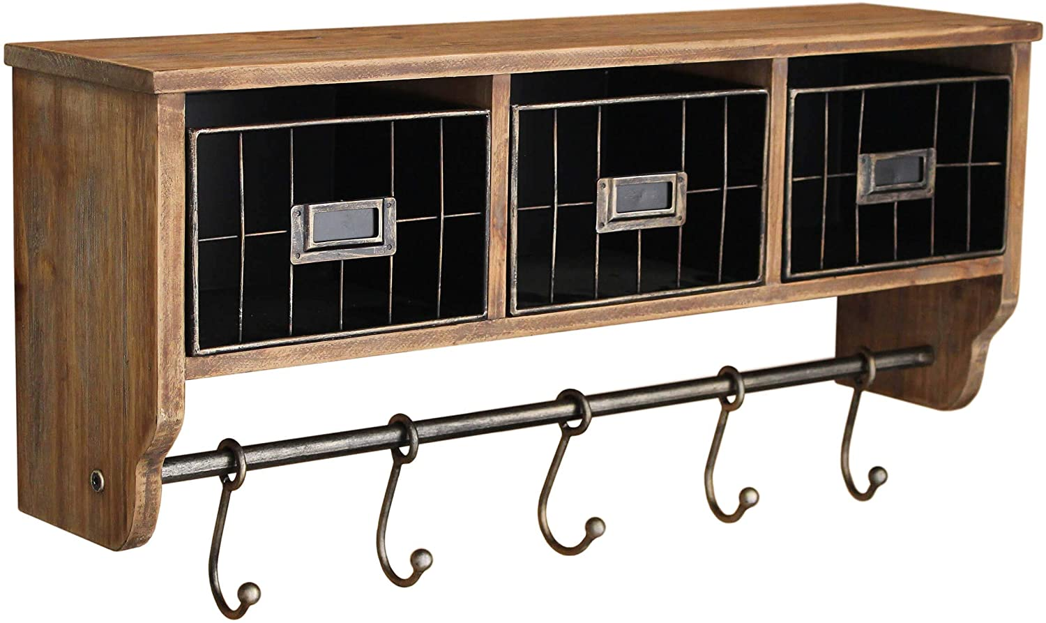 VASAGLE Vintage Coat Rack Shelf Wall Mounted Coat Hooks Shelf with Hanging Rail 5 Metal Removable Hooks and Storage Shelf for Entryway Hallway Bedroom Bathroom Living Room ULCR13AX