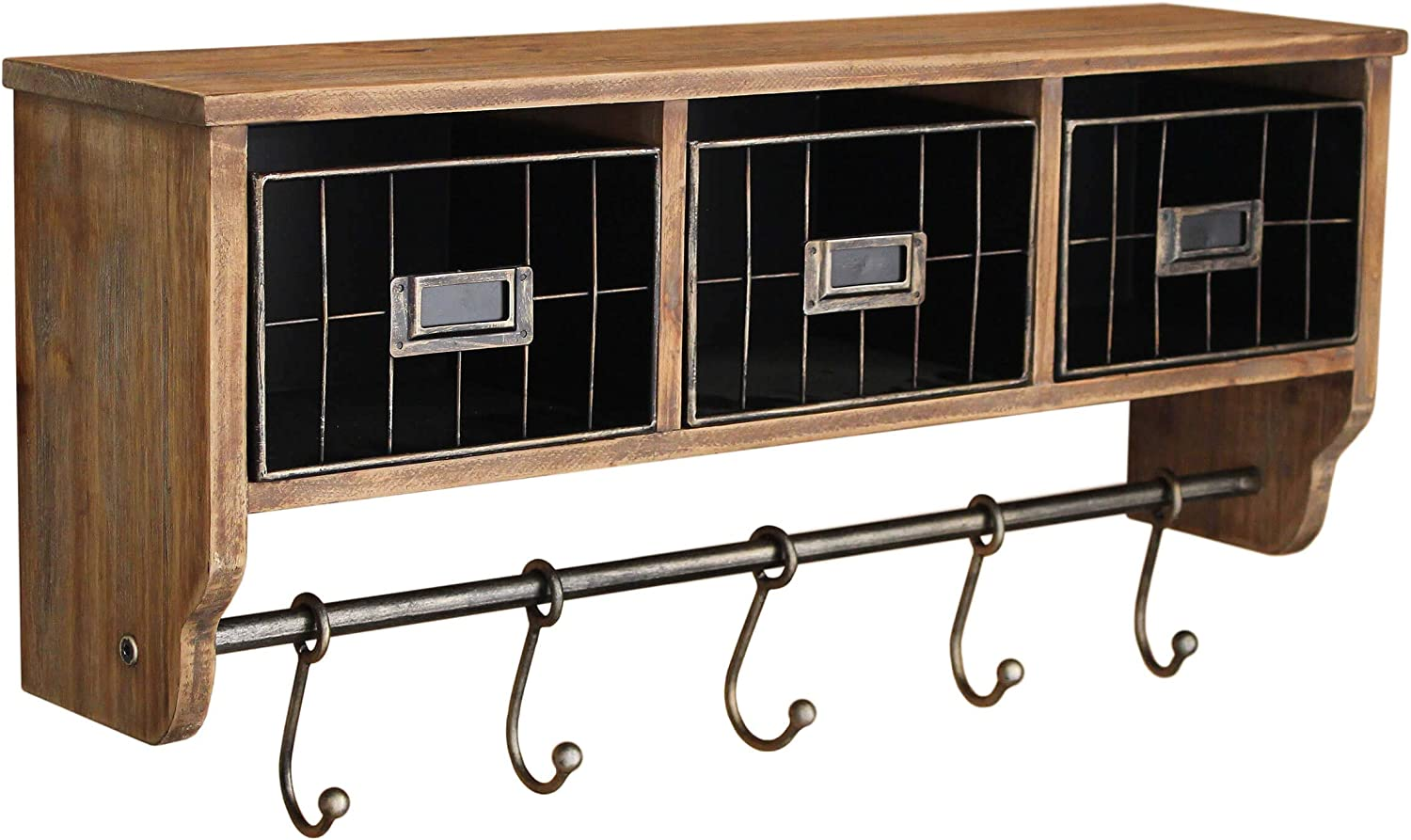 Rustic Coat Rack Wall Mounted Shelf with Hooks & Baskets, Entryway Organizer Wall Shelf with 5 Coat Hooks and Cubbies, Solid Wooden Shelf with Hooks - Hang Coats, Towels, Hats, Keys or Coffee Mugs!