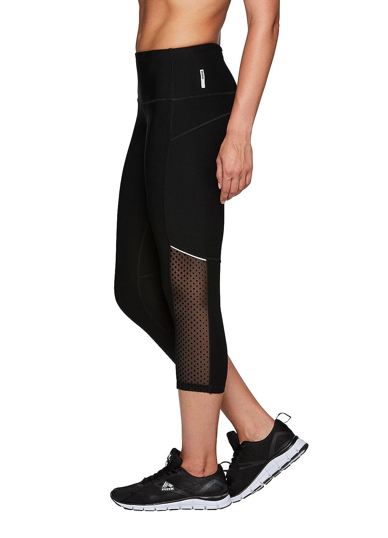 RBXアクティブレディースCapri Legging with Mesh Inserts and Xストラップ B0747S52HB S|Black Yoga Black Yoga S