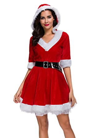 5925eee13f2 Amazon.com  Mrs. Claus Costume Christmas Role Play Outfits Hooded Dress for  Women  Clothing