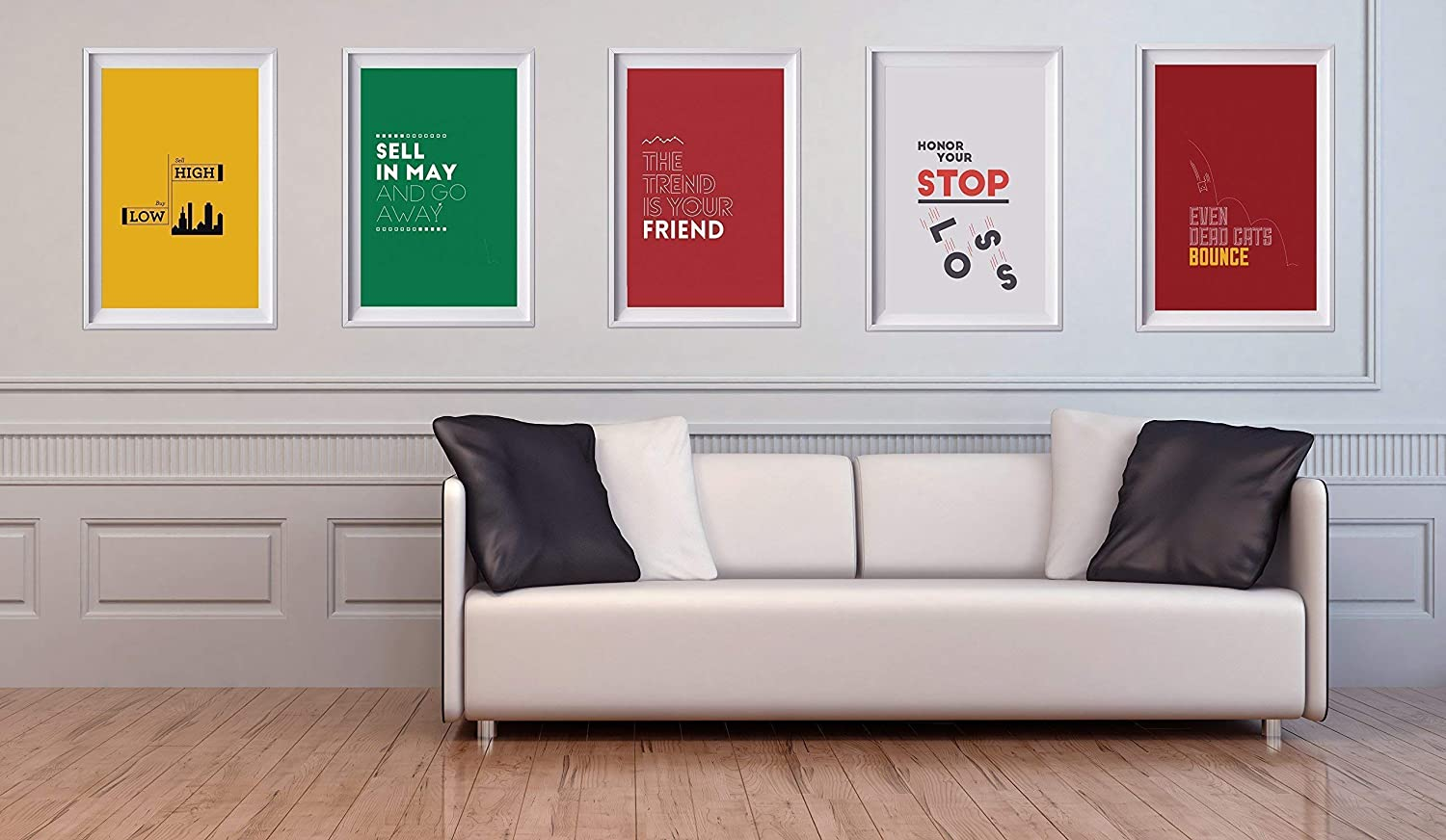 STOCK MARKET SAYINGS POSTER PACK. 5 great designs for the 5 most well known investing sayings