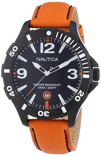 Nautica BFD 101 A13026G - Reloj analógico de cuarzo para hombre con correa de piel, color naranja: Amazon.es: Relojes