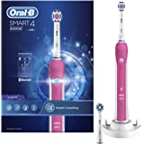 Oral-B Smart 4 4000W 3D White Electric Toothbrush Rechargeable Powered By Braun, 1 Pink Connected Handle, 3 Modes Including Whitening and Sensitive, 2 Toothbrush Heads, with A 2 Pin UK Plug