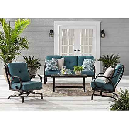 Rust Free Cast Aluminum SUNBRELLA Fabric Outdoor Patio 4pc Patio Seating Set