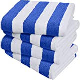 Utopia Towels Cabana Stripe Beach Towels, Blue, (30 x 60 Inches) - 100% Ring Spun Cotton Large Pool Towels, Soft and Quick Dr