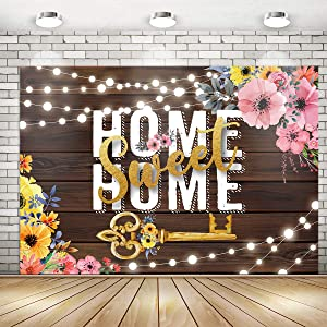 Rustic Home Sweet Home Key Housewarming Backdrop Banner Party Decorations | Floral Sweet Home Housewarming Party Backdrop Background Banner for Wall Decorations Photo Booth Props Supplies 71x 49inch
