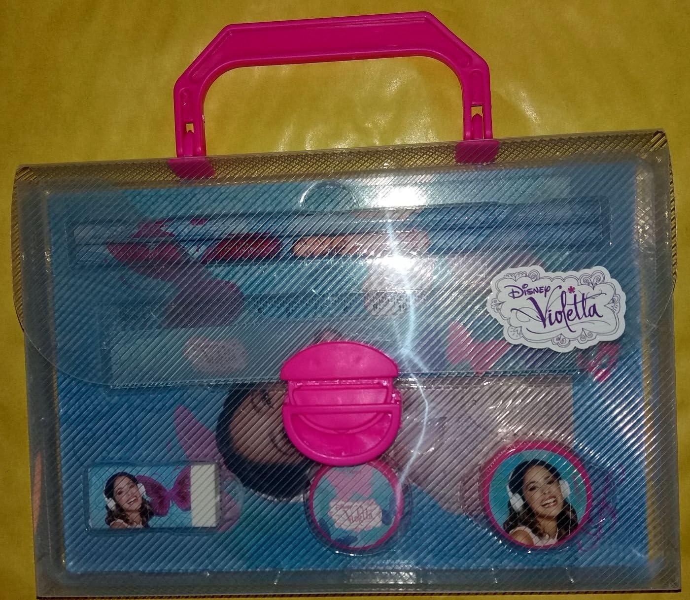 Violetta Juego escritura maletín lápices + goma + Sacapuntas + Tijeras + regla + Estuche y notes: Amazon.es: Oficina y papelería