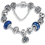 ATEIELLI® Bracciale Charms Blu Vetro Cristalli Cuore Beads Regalo Festa #B17-157
