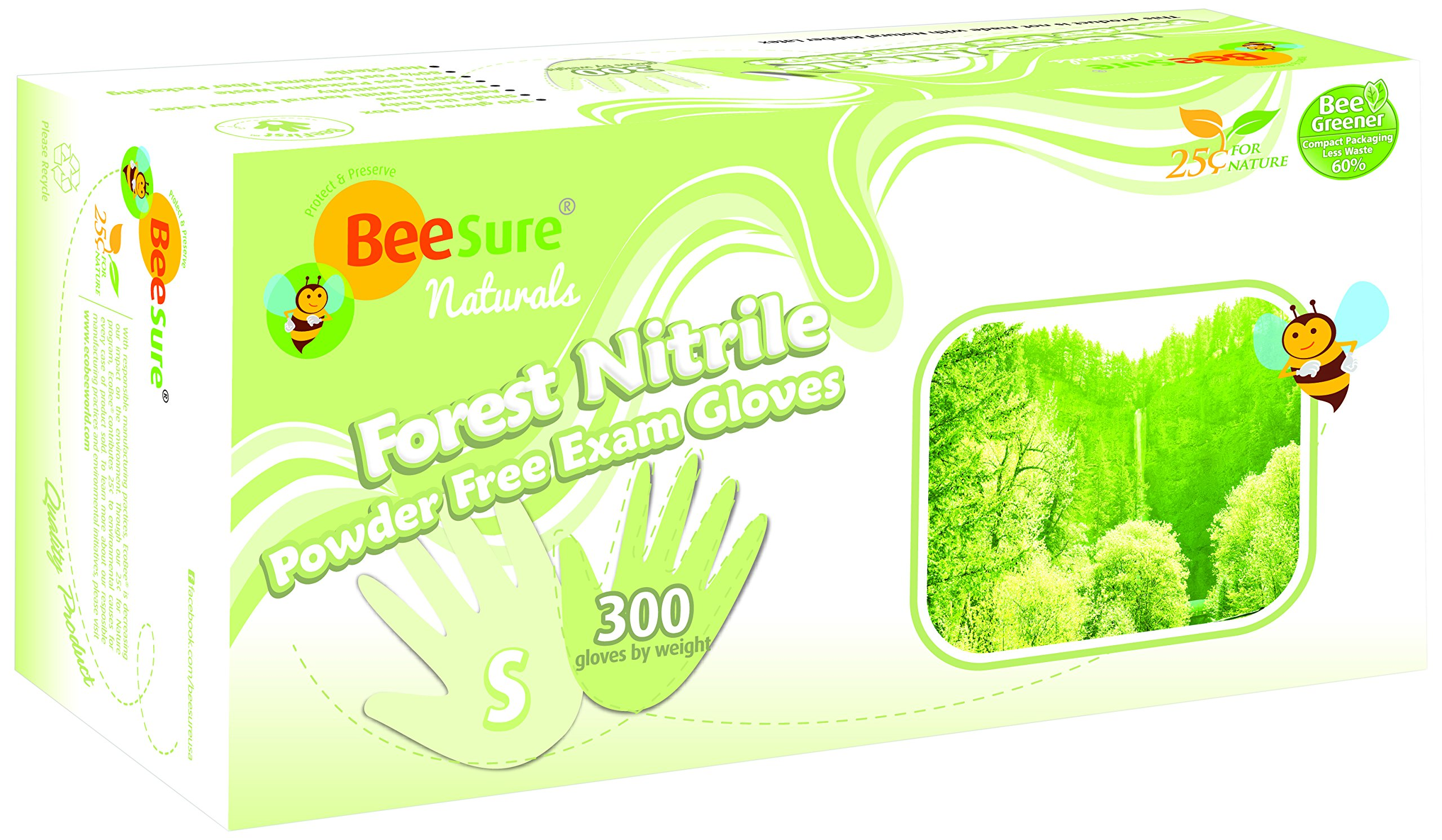 BeeSure BE2946case Naturals Forest Exam Gloves, Powder Free, Nitrile, Beaded-Cuff, Small, Green (Pack of 3000) by BeeSure (Image #1)