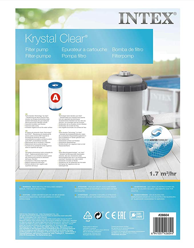 Intex 28604 - Depuradora cartucho tipo A Krystal Clear 2.006 ...
