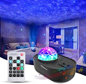 Merece 3 in 1 Star Galaxy Projector, Night Light Projector Bluetooth Music Speaker, Remote Control & 5 White Noises for Bedroom/Party/Decor, Timer Starry Projector for Kids, Adults Black