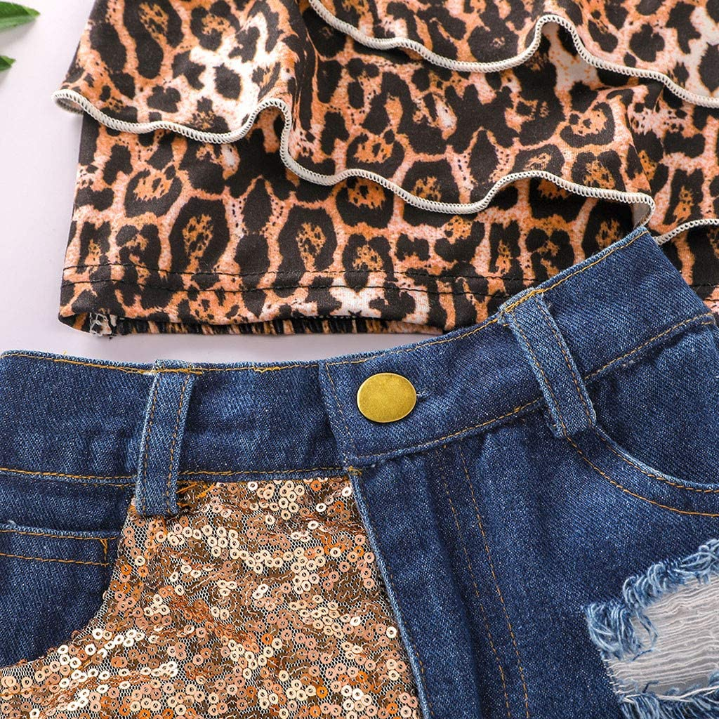 Daoope 0-4 Anni Abbigliamento Neonata Bambina Vestiti 12 18 24 Mesi Canotta Leopardato Bowknot Fascia 3 Pezzi Set Ragazza Estivi Senza Maniche T Shirt Completini e Coordinati Jeans Strappati
