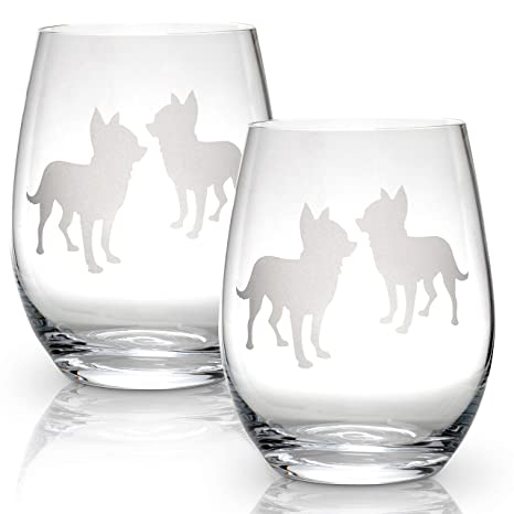 62720db8b94 Image Unavailable. Image not available for. Color: Chihuahua Stemless Wine  Glasses ...