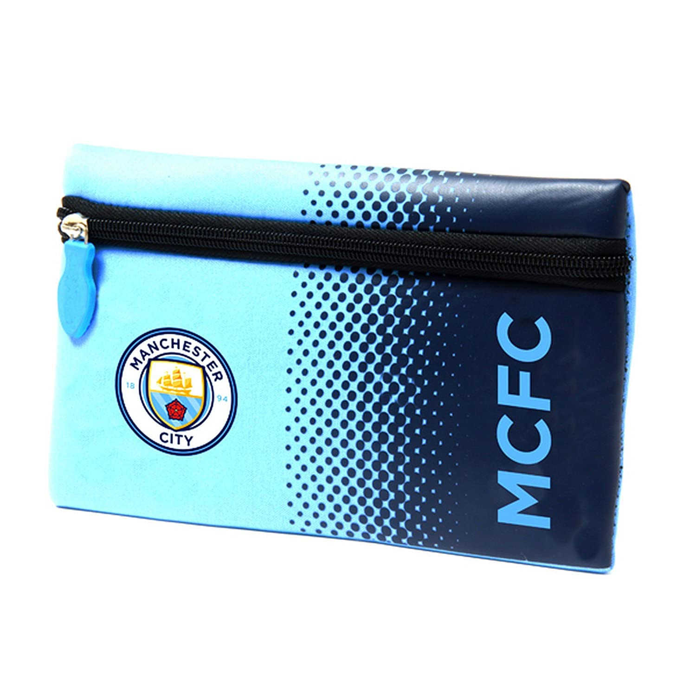 Manchester City FC Official Fade Flat Football Crest Pencil Case