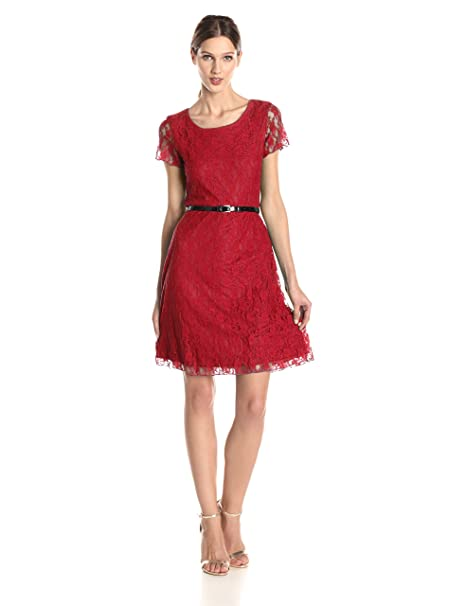 cfb7cc493961 Star Vixen Women s Short Sleeve Lace Skater Dress with Belt at Amazon  Women s Clothing store