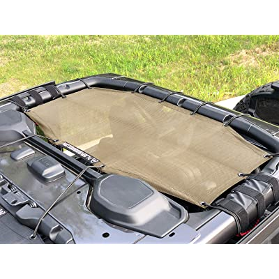 ALIEN SUNSHADE Jeep Wrangler 4 Door JLU Rear Passenger Half Sun Shade Mesh Top 2020+ (New Body Style) (Tan): Automotive