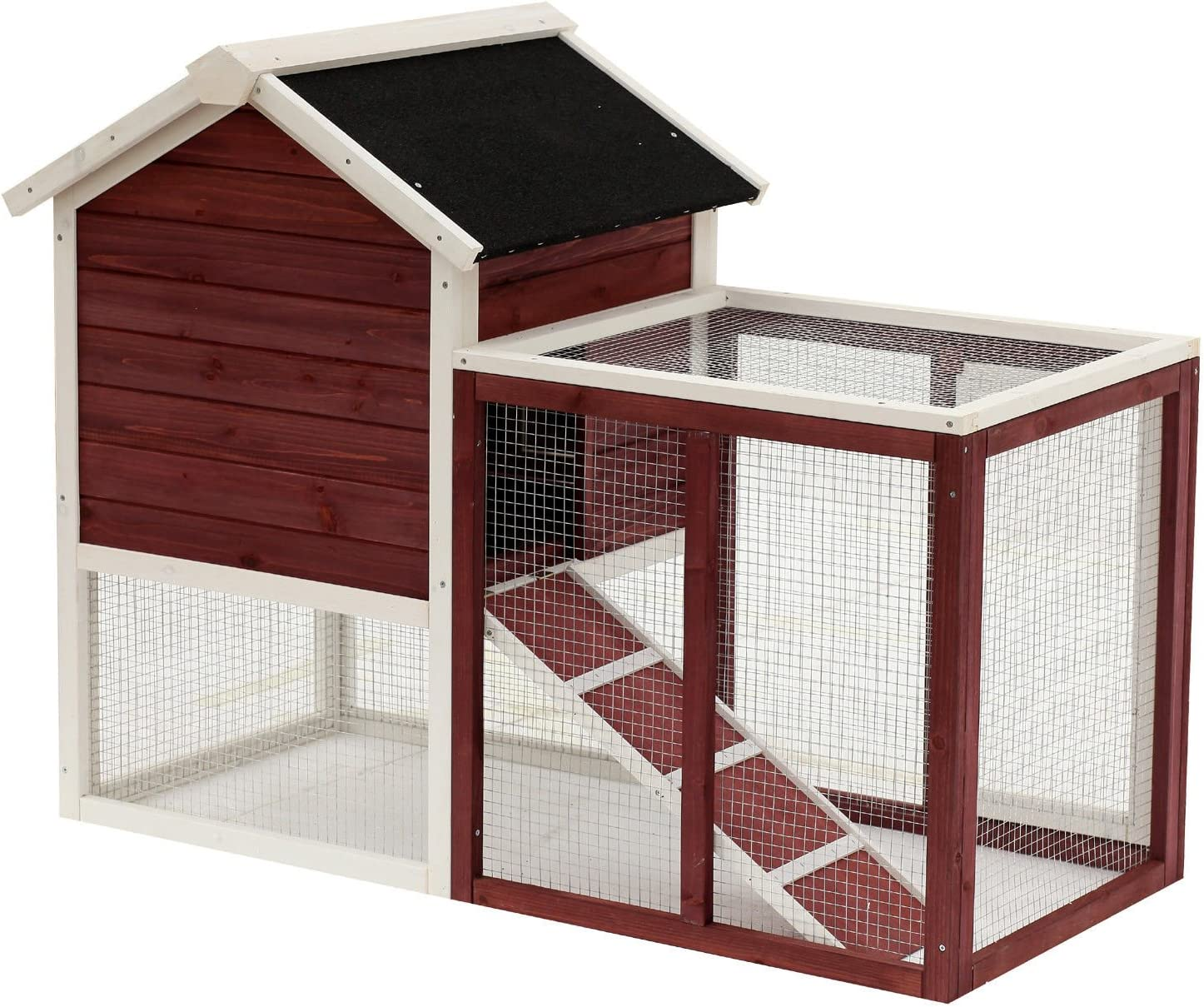 Amazon Com Pawhut 48 Weatherproof Wooden Rabbit Hutch With Asphalt Roof Outdoor Run For Ferrets Other Small Animals Brown Pet Supplies