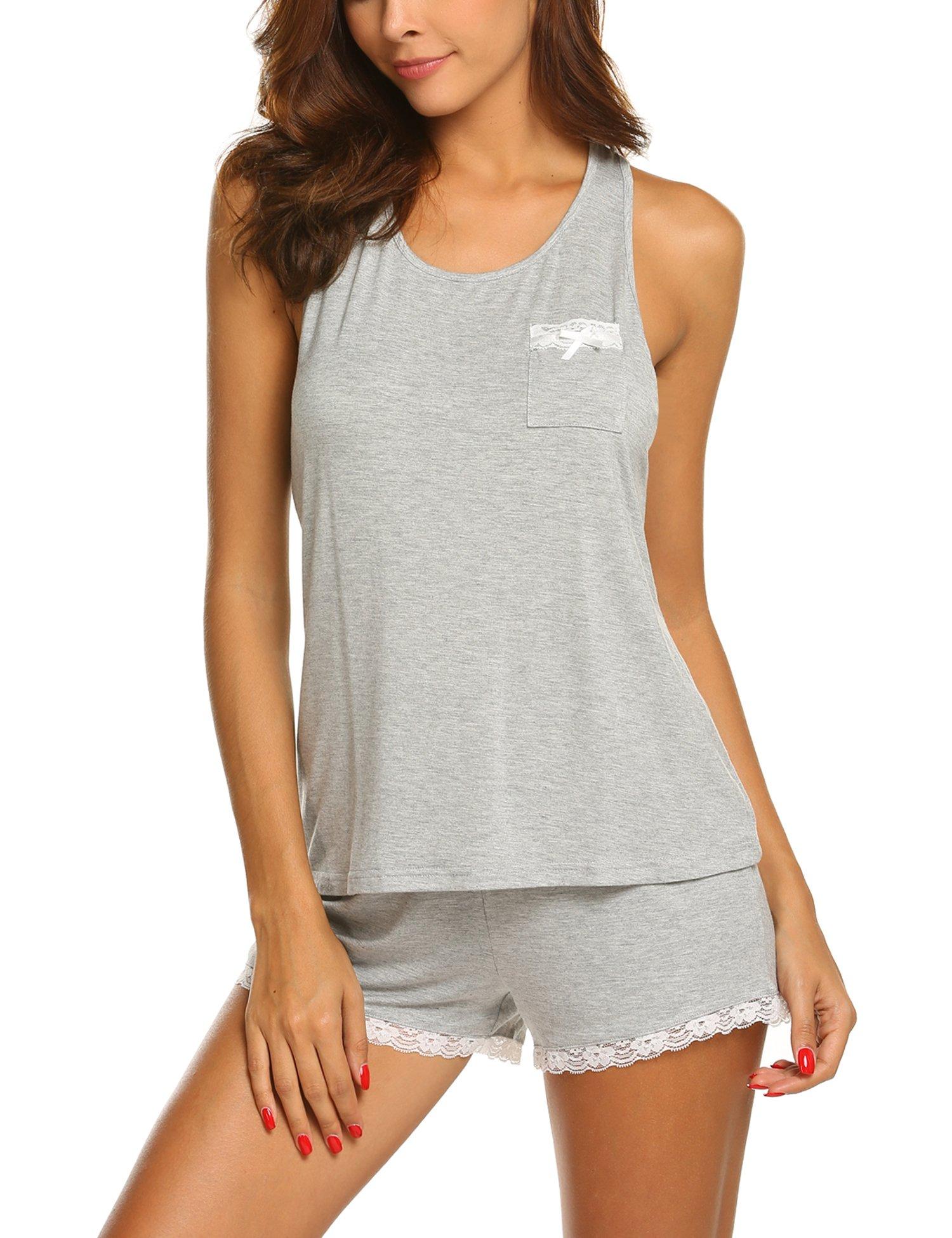 MAXMODA Women's Lace Sexy Pajama Set Sleeveless PJ Tank and Shorts Sleepwear Heather Grey S