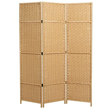 Mygift Folding Woven Paper Rattan Room Divider 3 Panel Privacy Screen Beige