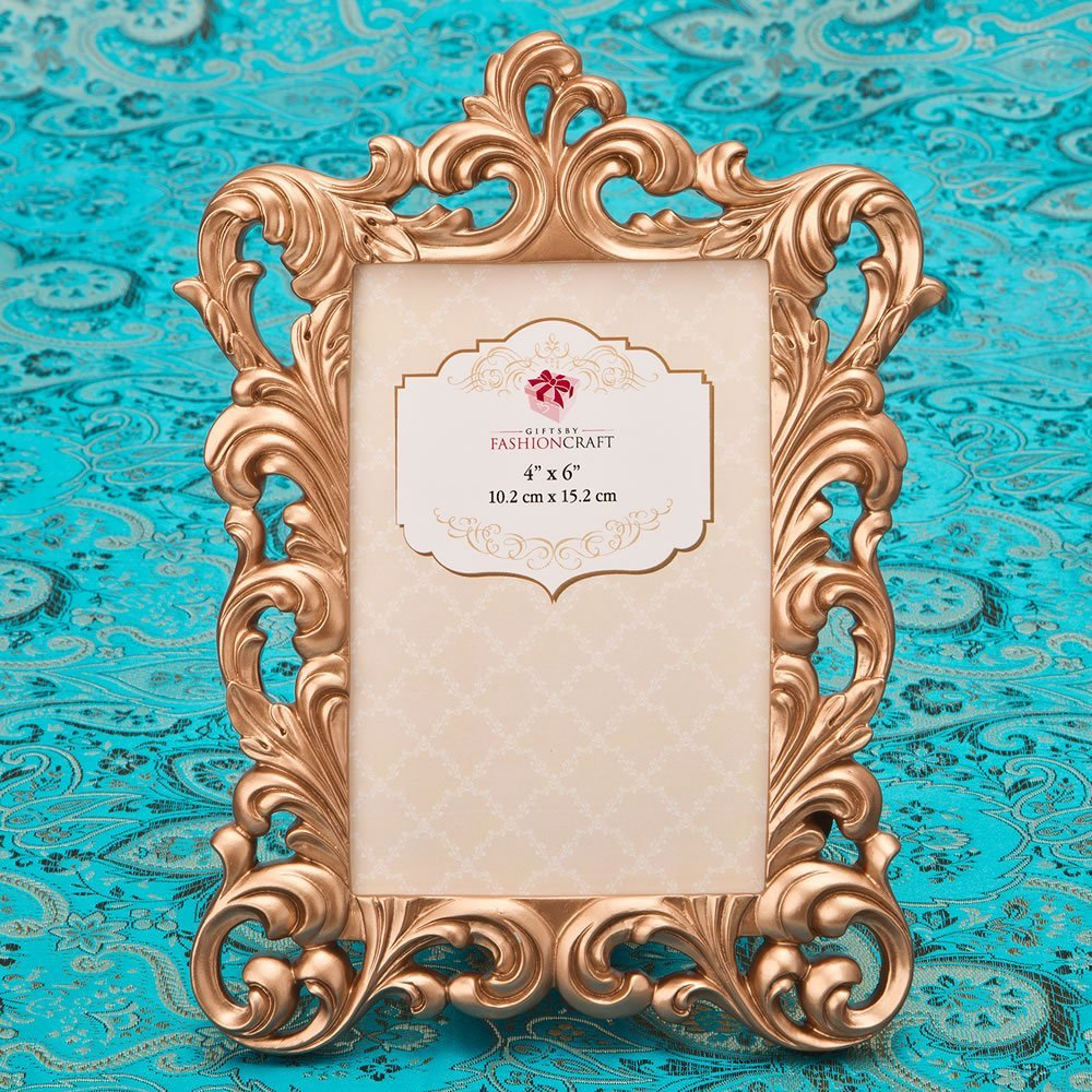 Magnificent Rose Gold Baroque 4 x 6 frame from gifts by fashioncraft