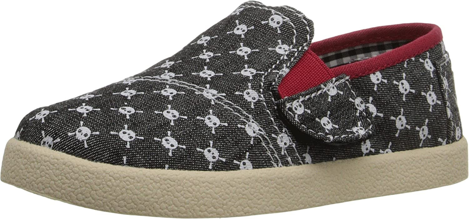 8d75d9b94fbf Amazon.com  TOMS Kids Unisex Avalon Slip-On (Infant Toddler Little Kid)  Black Chambray Skulls Sneaker 4 Toddler M  Clothing