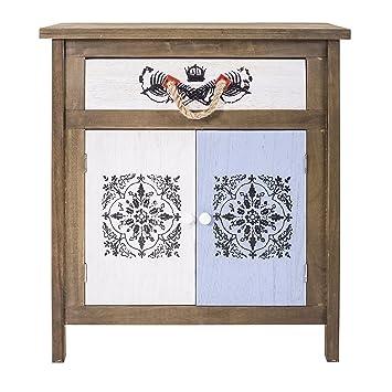 Rebecca SRL Nachttisch 2 Türen 1 Schublade Seilgriff Paulownienholz  Mehrfarbig Creme Blau Braun Orient Optik