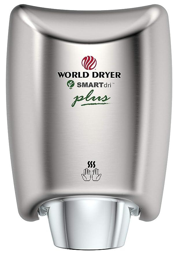 World Dryer K4-974P SMARTdri Plus High Efficiency Intelligent Automatic Hand Dryer with Aluminum White Cover 208-240V K4-974P2 Single Port Nozzle