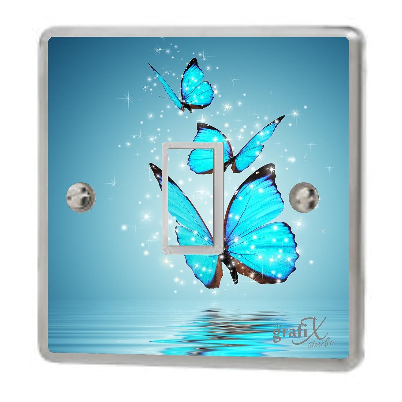 Flower & Butterflies Light Switch & Double Sticker Vinyl / Skin cover sw105 the grafix studio