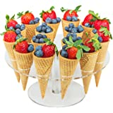Jusalpha Clear Acrylic Ice Cream Cone/ Sushi Hand roll Stand Holder 16 - Capacity (16)