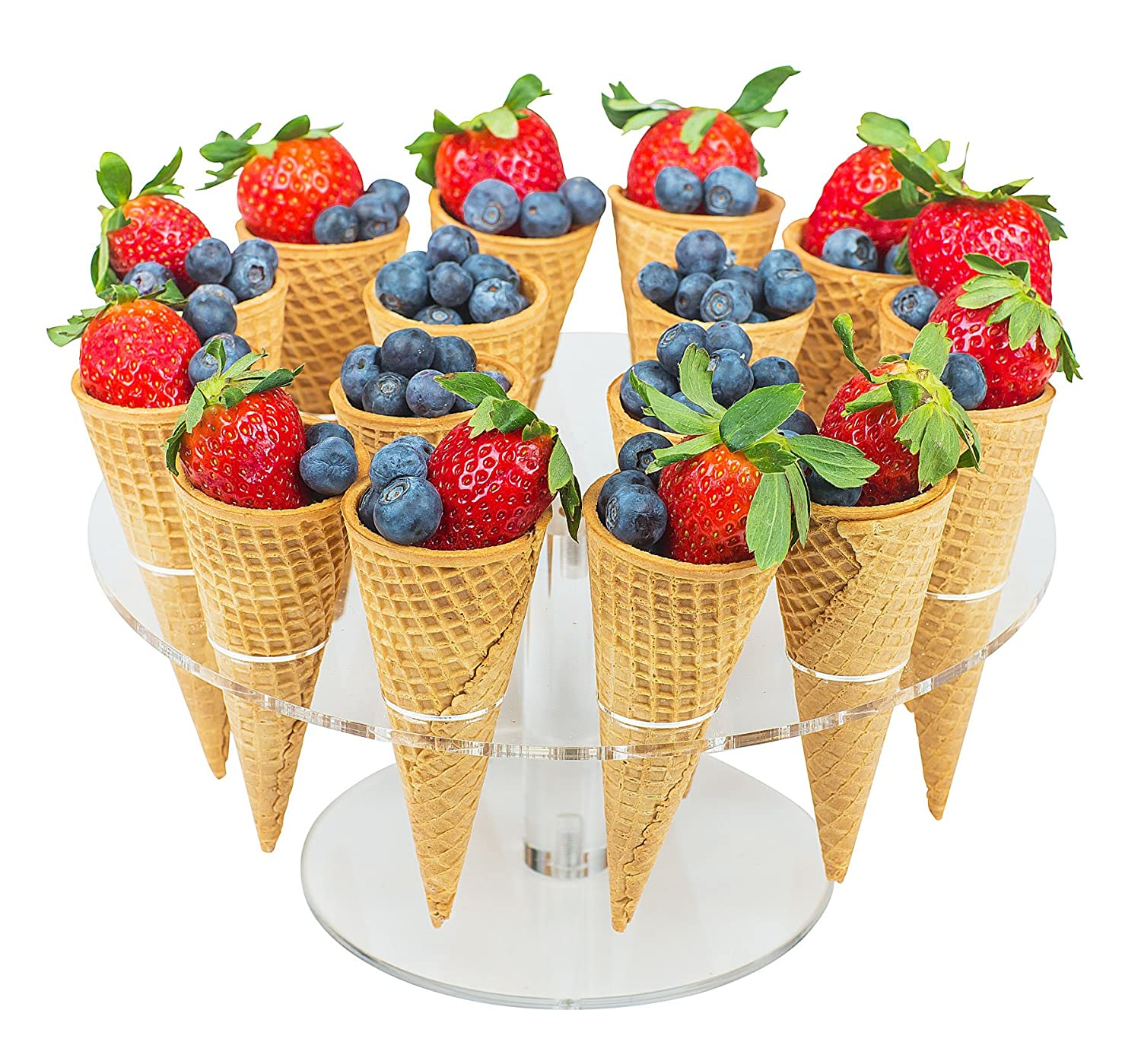 Jusalpha Clear Acrylic Ice Cream Cone/Sushi Hand roll Stand Holder 16 - Capacity (16)
