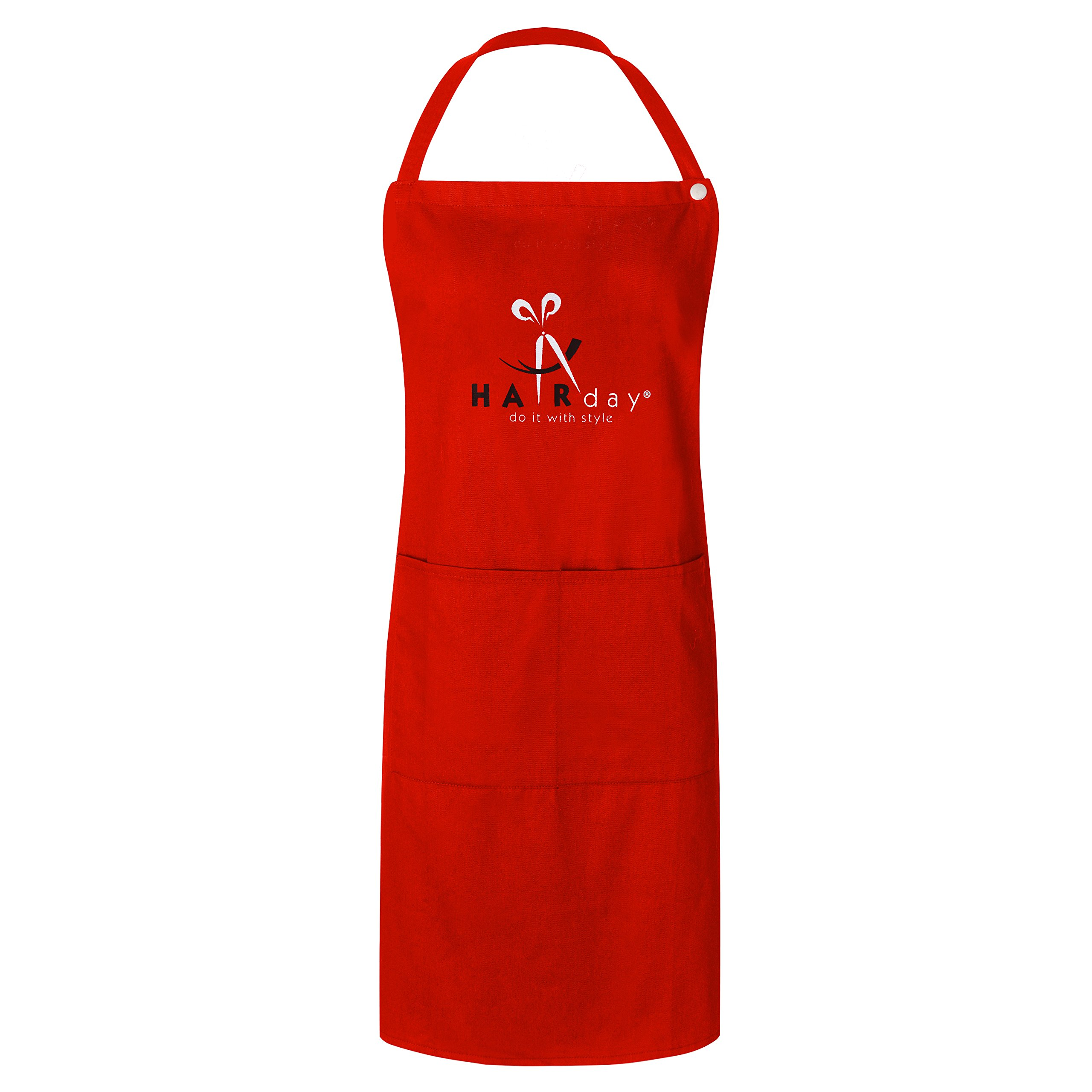 Snap Closure Bib Apron for Hairdresser, Hair Designer, Hair Care Professionals by the Professional Team of Hairday Care (Red)