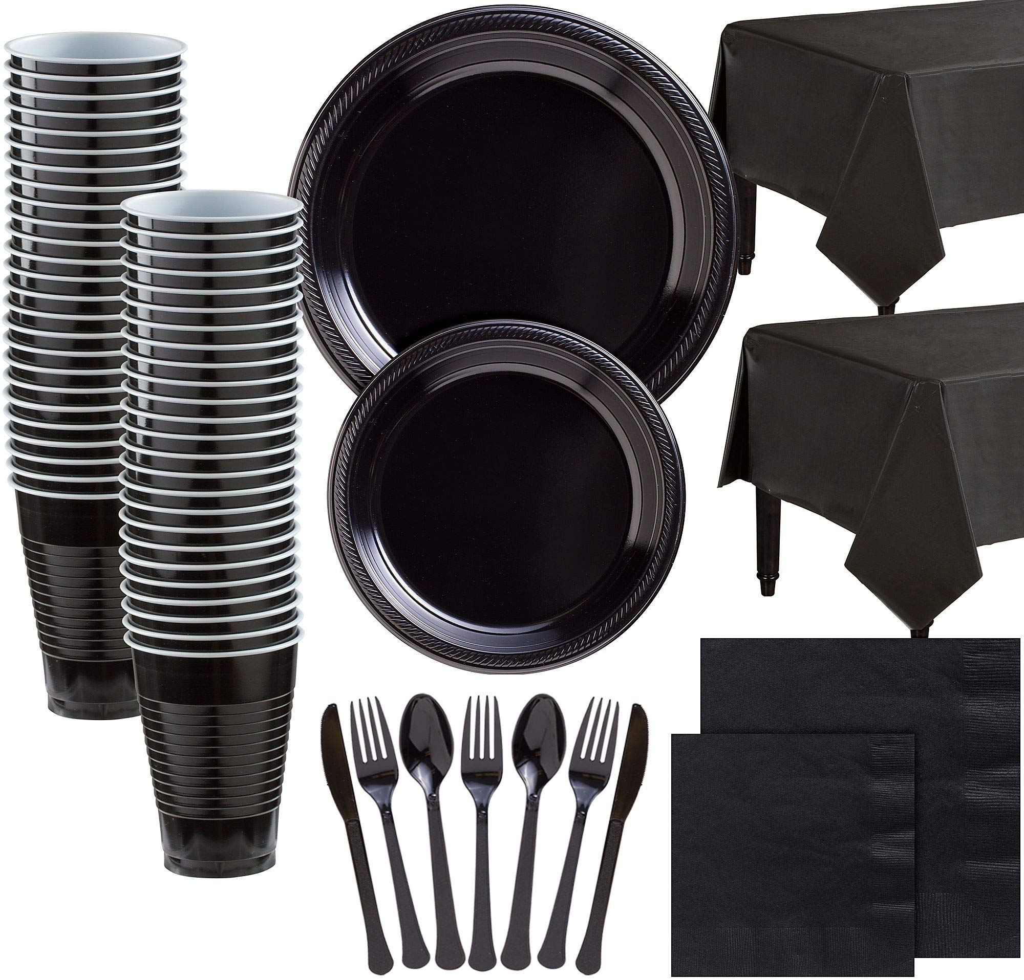 Party City Black Plastic Tableware Kit for 100 Guests, 852 Pieces, Includes Plates, Napkins, Table Covers, and Utensils